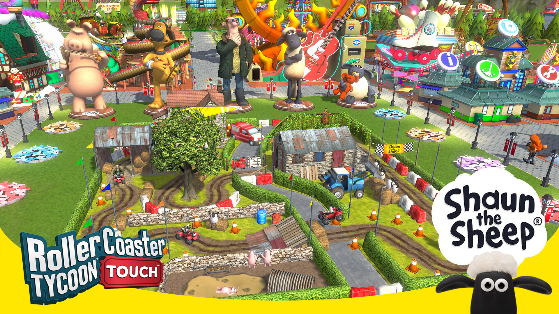 Shaun the Sheep and Friends Arrive in RollerCoaster Tycoon Touch